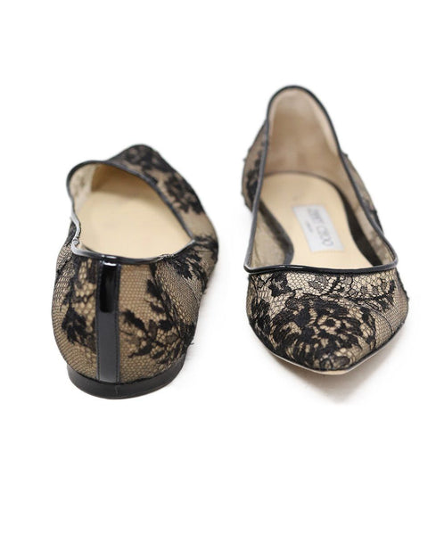 Jimmy Choo Black Nylon Lace Flats 3