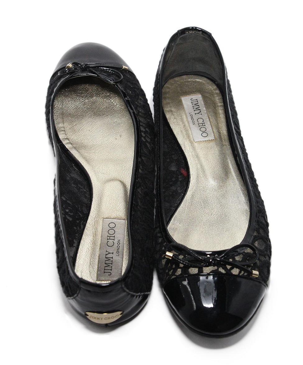 Jimmy Choo Black Patent Leather Mesh Flats Sz 11 3