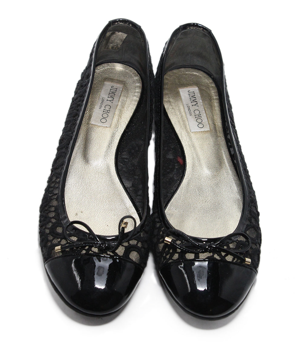 Jimmy Choo Black Patent Leather Mesh Flats Sz 11 4