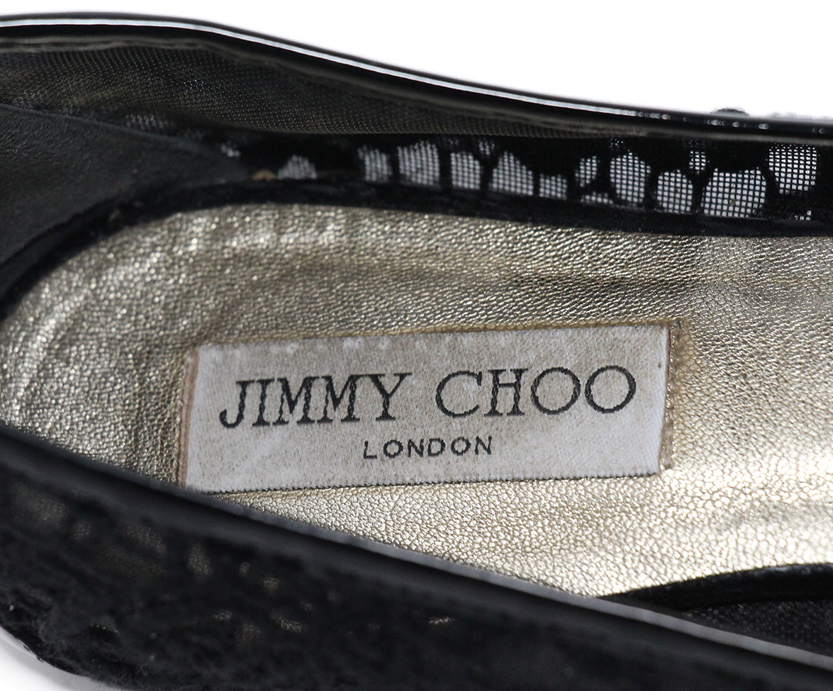Jimmy Choo Black Patent Leather Mesh Flats Sz 11 7