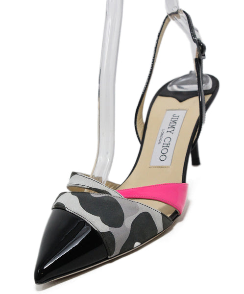 Jimmy Choo Black Patent Neon Pink Leather White Heels 1