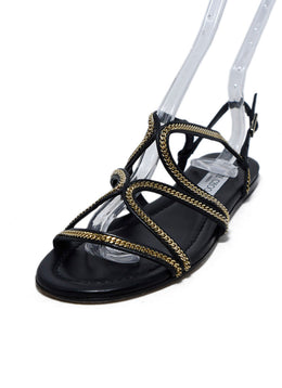 Jimmy Choo Black Leather Gold Chain Trim Sandals 1