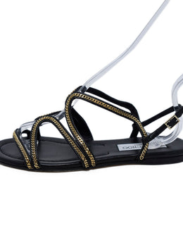 Jimmy Choo Black Leather Gold Chain Trim Sandals 2