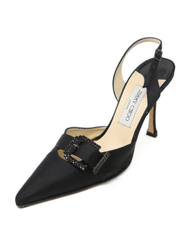 Jimmy Choo Black Satin Rhinestone Sling Backs 1