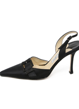 Jimmy Choo Black Satin Rhinestone Sling Backs 2