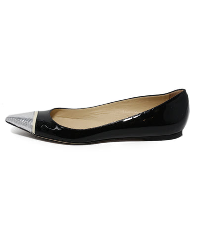 Jimmy Choo Black Silver Patent Leather Flats 1