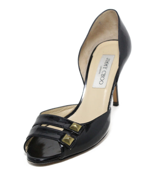 Jimmy Choo Black leather gold trim heels 1