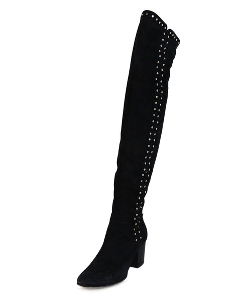 Jimmy Choo Black suede Gold Studded Boots 1
