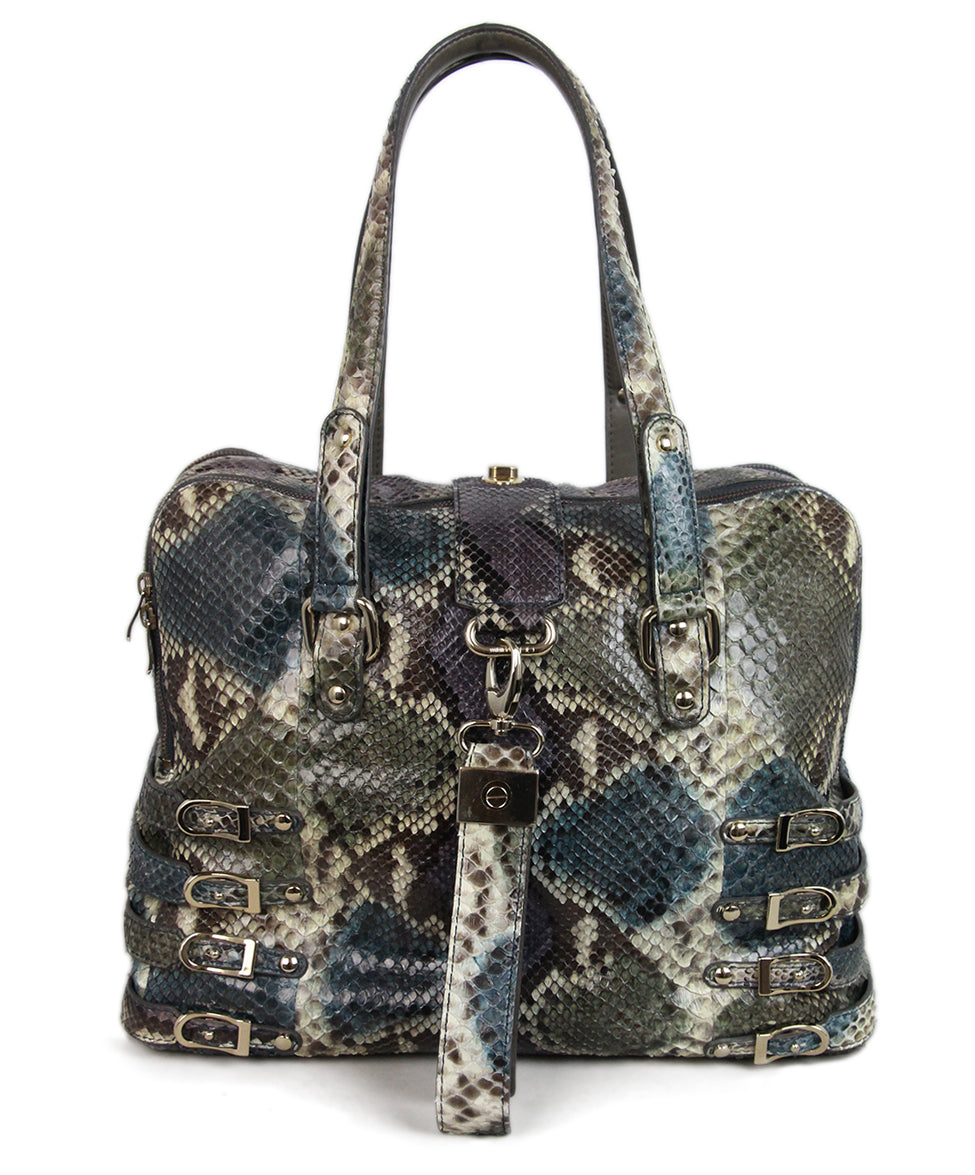 Jimmy Choo Blue Purple Snake Skin Tote 1