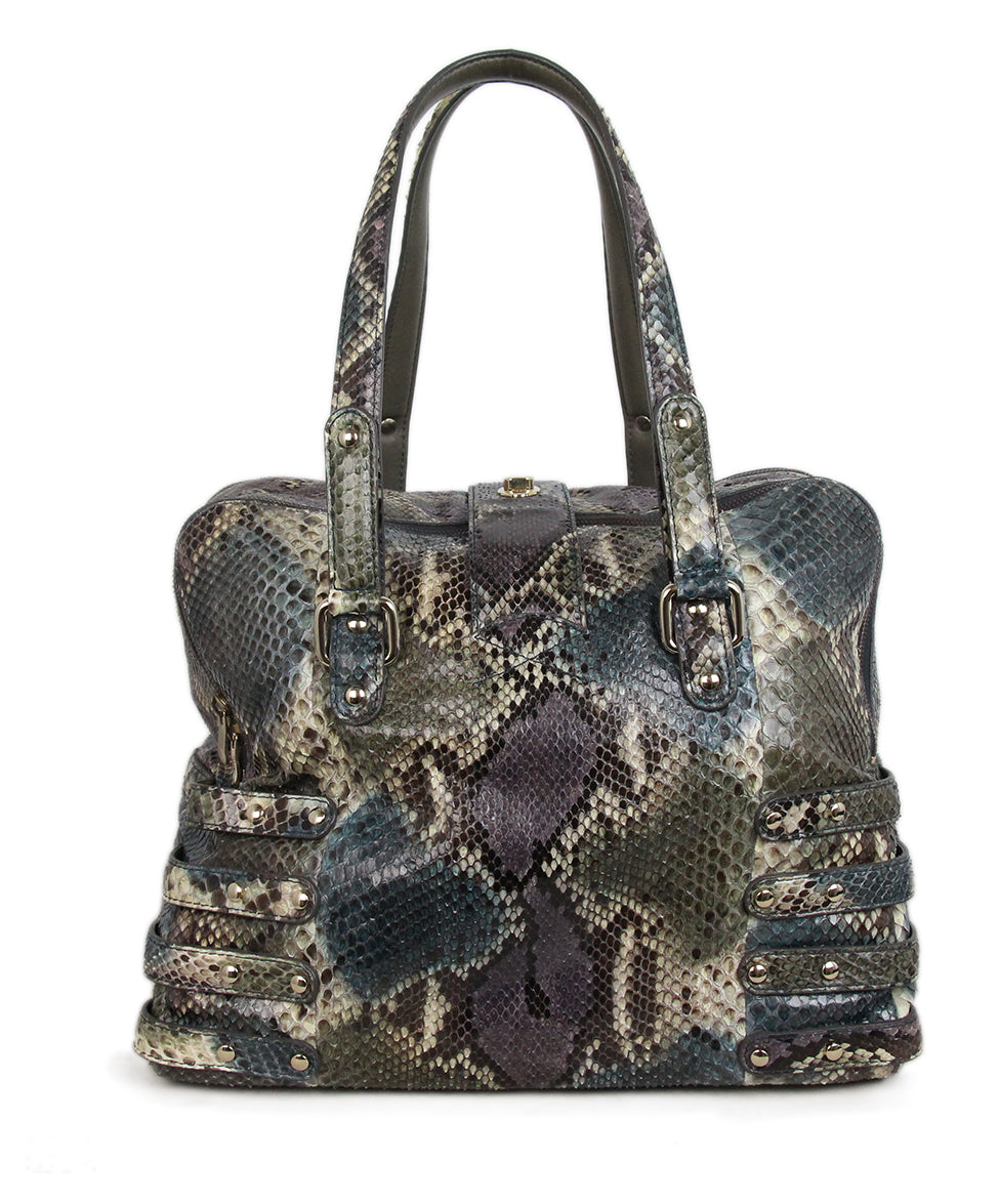 Jimmy Choo Blue Purple Snake Skin Tote 3