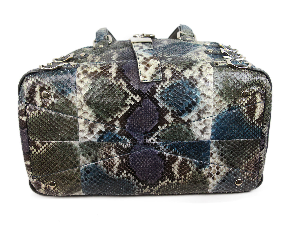 Jimmy Choo Blue Purple Snake Skin Tote 4