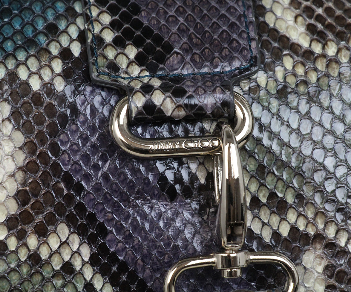 Jimmy Choo Blue Purple Snake Skin Tote 7