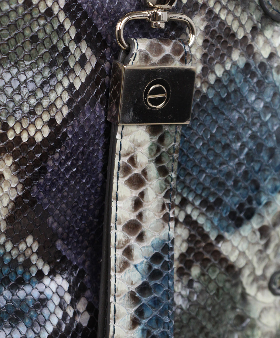 Jimmy Choo Blue Purple Snake Skin Tote 8