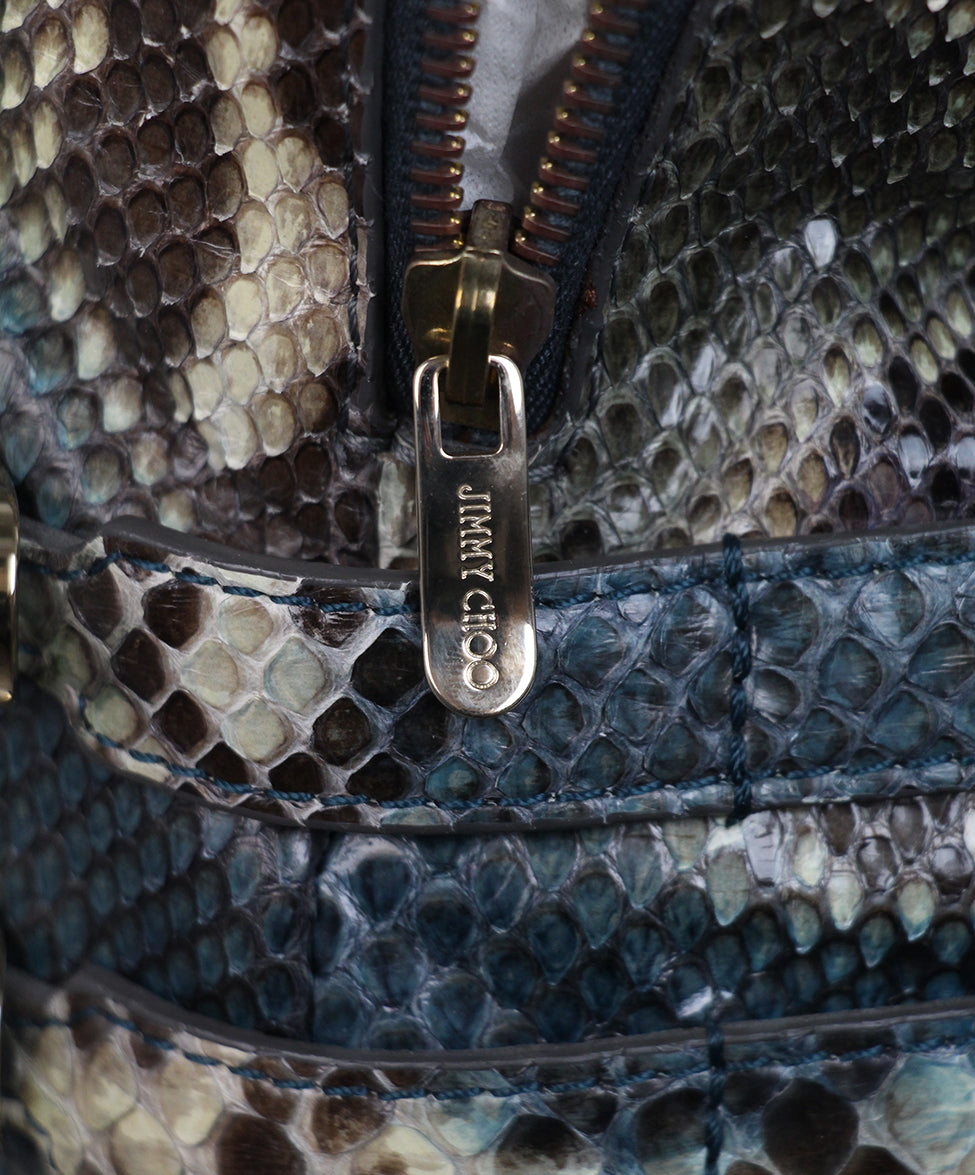 Jimmy Choo Blue Purple Snake Skin Tote 9