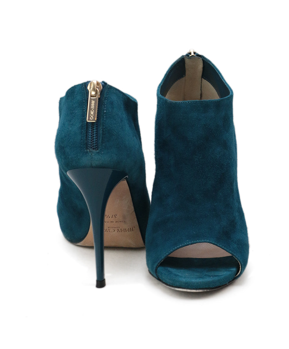 Jimmy Choo Blue Teal Suede Heels 3
