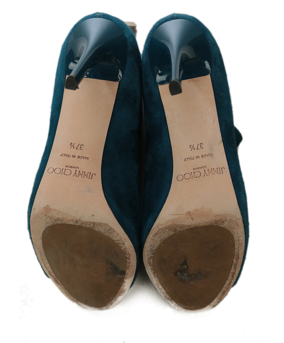 Jimmy Choo Blue Teal Suede Heels 5