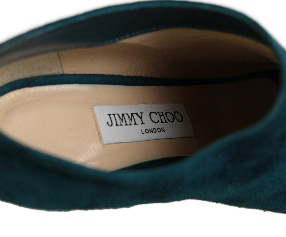 Jimmy Choo Blue Teal Suede Heels 6