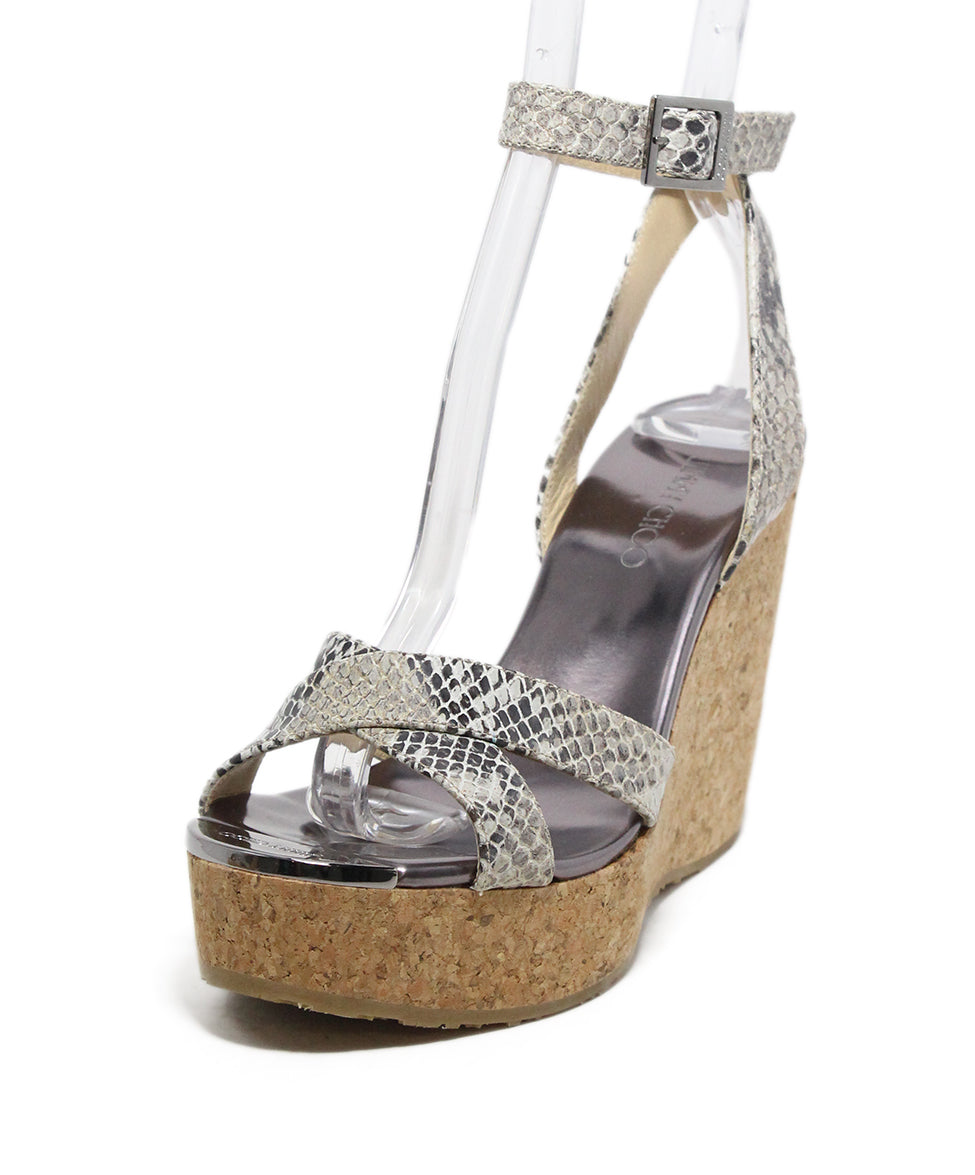 Jimmy Choo Brown Beige Print Leather Cork Wedge Sandals 1