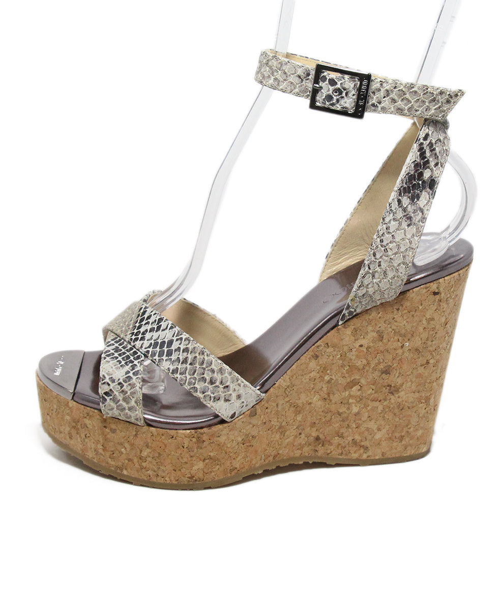 Jimmy Choo Brown Beige Print Leather Cork Wedge Sandals 2