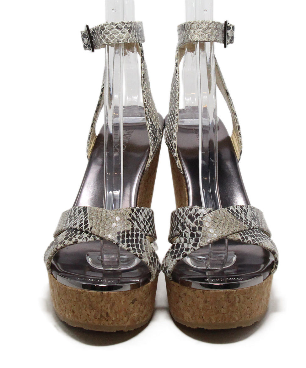 Jimmy Choo Brown Beige Print Leather Cork Wedge Sandals 4