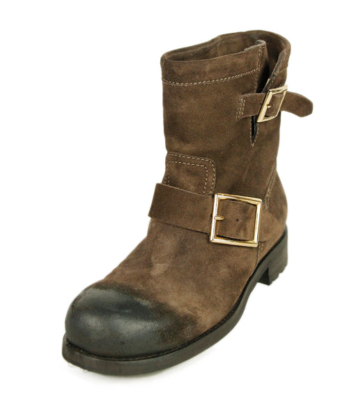 Jimmy Choo Brown Distressed Suede Booties 1