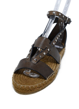 Jimmy Choo Brown Leather Silver Studs Sandals 1