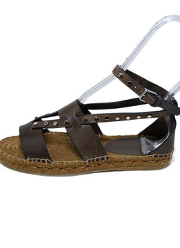 Jimmy Choo Brown Leather Silver Studs Sandals 2