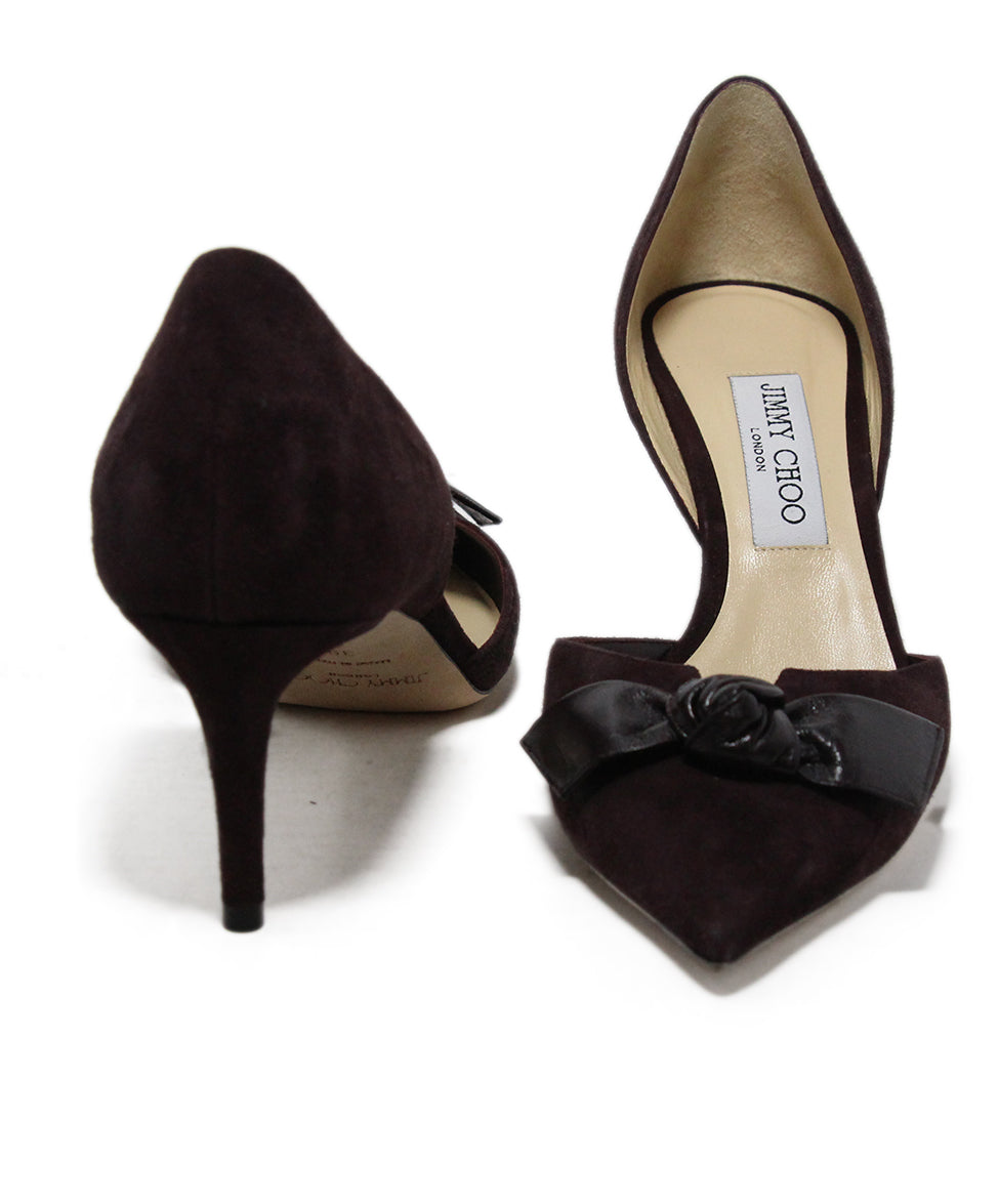Jimmy Choo Brown Suede Bow trim Heels 3
