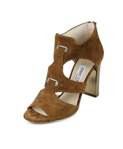 Jimmy Choo Brown Tobacco Suede Heels Sz 37