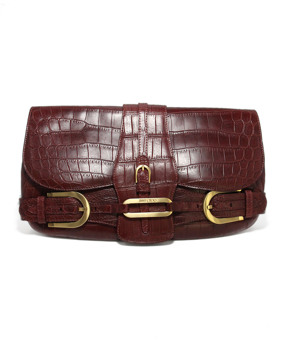 Jimmy Choo Burgundy Pressed Leather Clutch 1