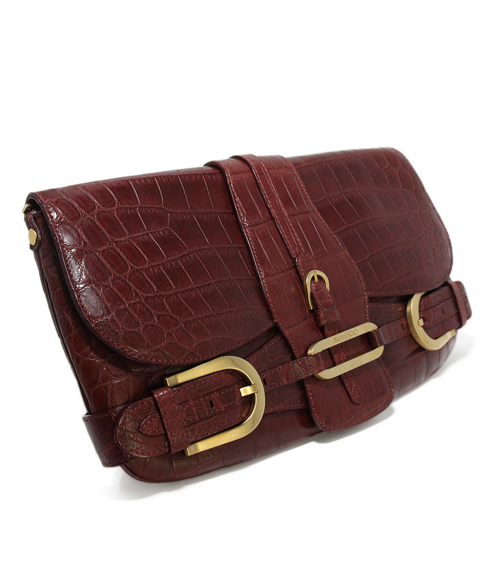 Jimmy Choo Burgundy Pressed Leather Clutch 2