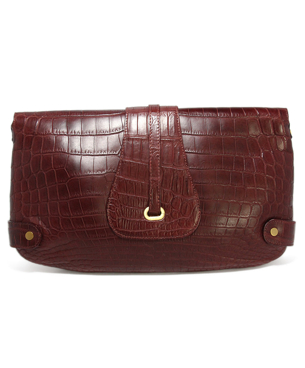 Jimmy Choo Burgundy Pressed Leather Clutch 3