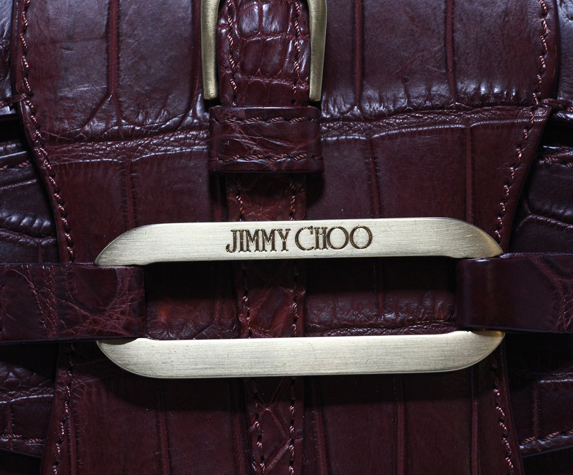 Jimmy Choo Burgundy Pressed Leather Clutch 5