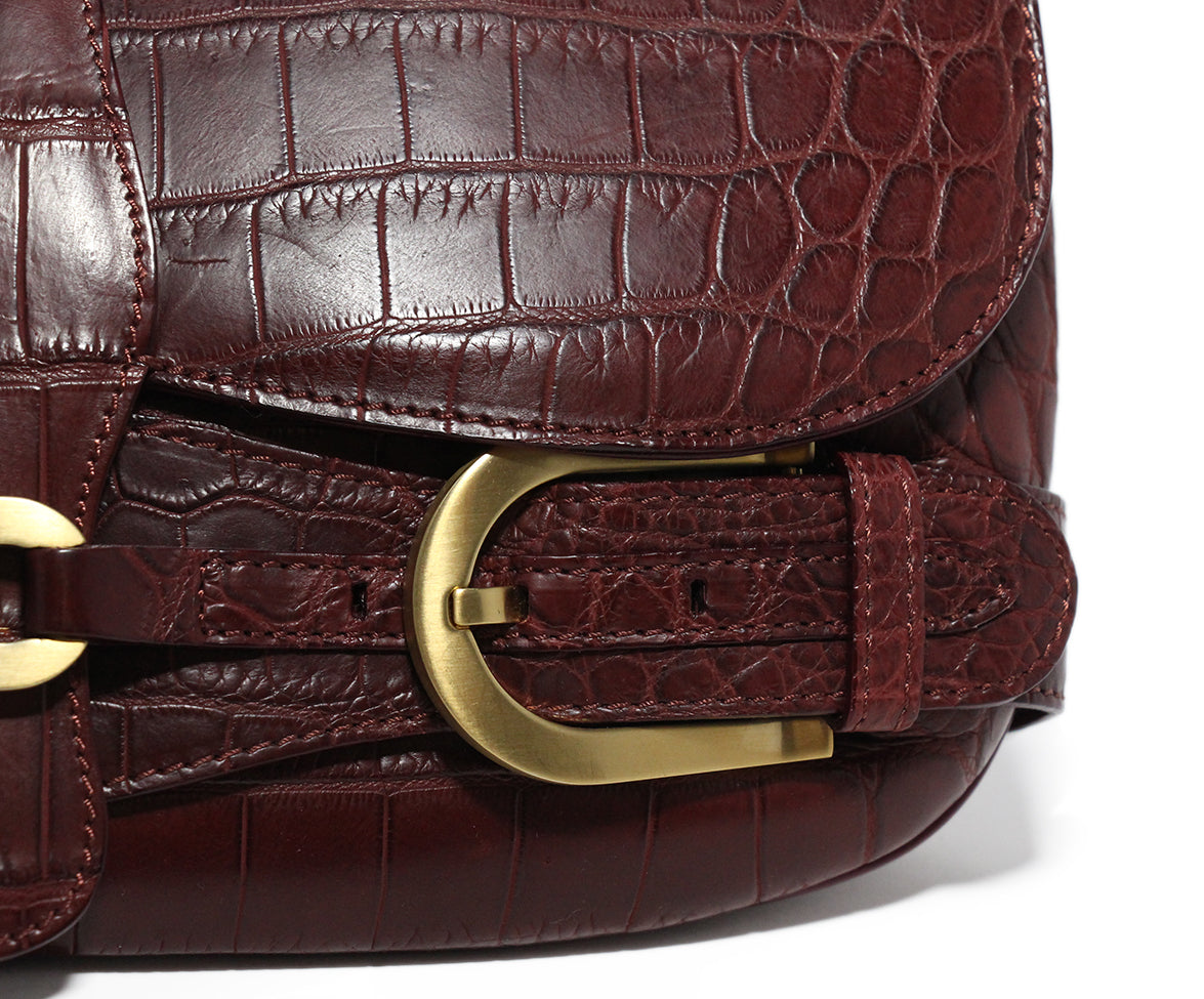 Jimmy Choo Burgundy Pressed Leather Clutch 7