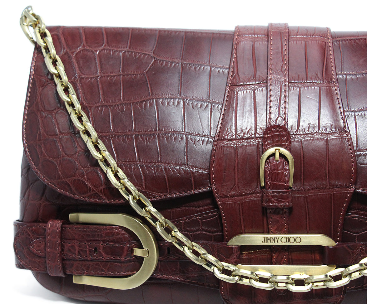 Jimmy Choo Burgundy Pressed Leather Clutch 10
