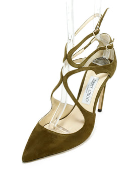 Jimmy Choo Green Olive Suede Strappy Heels 1