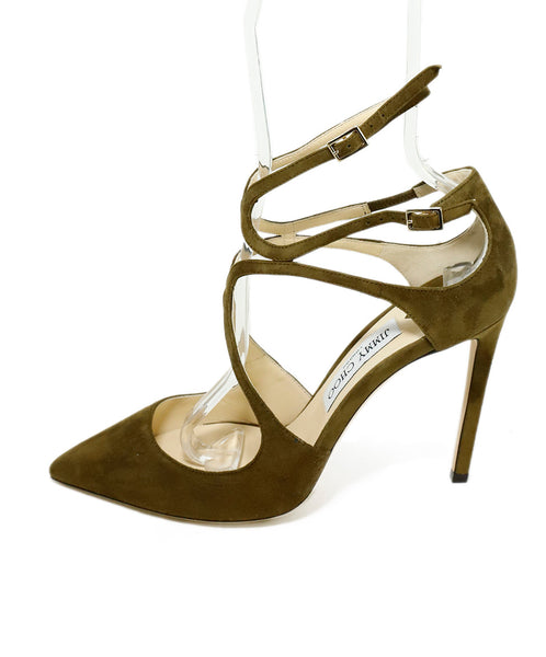 Jimmy Choo Green Olive Suede Strappy Heels 2