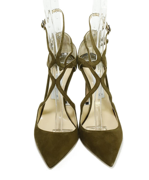 Jimmy Choo Green Olive Suede Strappy Heels 4