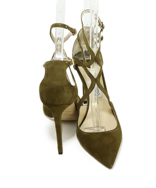 Jimmy Choo Green Olive Suede Strappy Heels 3