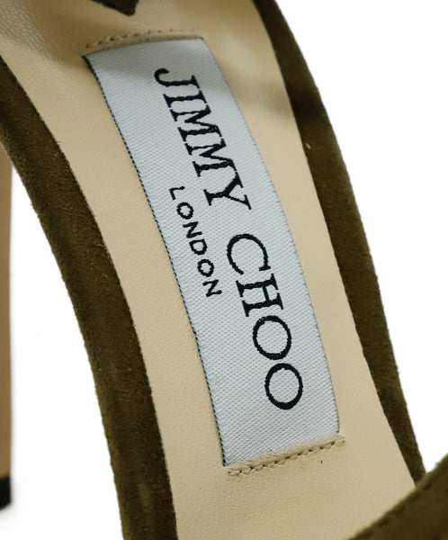 Jimmy Choo Green Olive Suede Strappy Heels 7