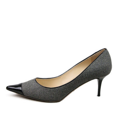 Jimmy Choo Grey Wool Black Patent Trim Shoes 1