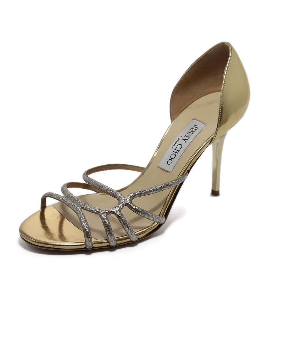 Jimmy Choo Metallic Gold Leather Heels 1