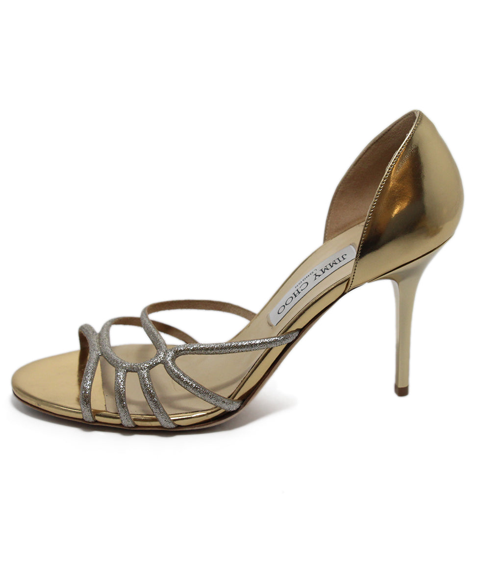 Jimmy Choo Metallic Gold Leather Heels 2