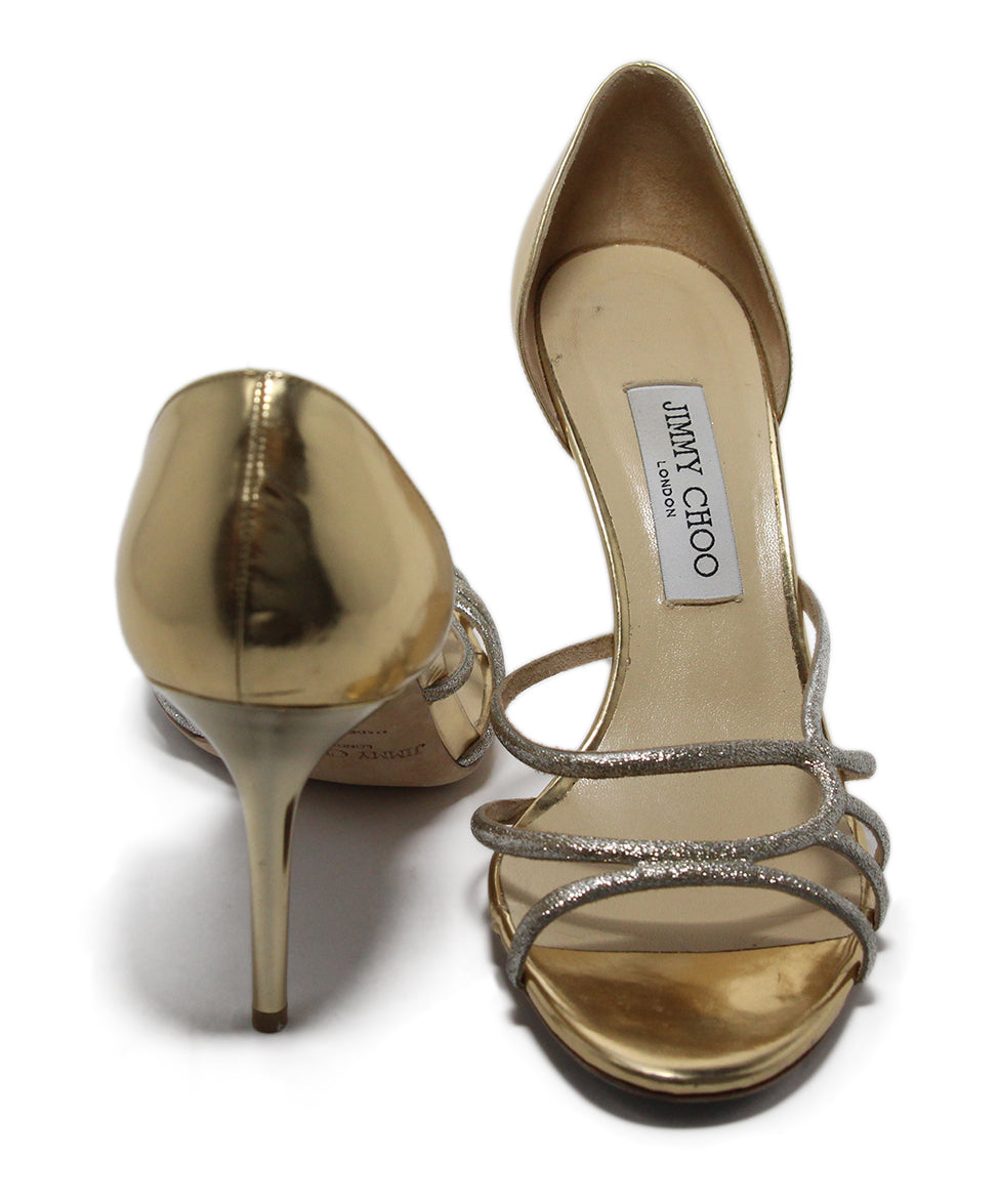 Jimmy Choo Metallic Gold Leather Heels 3