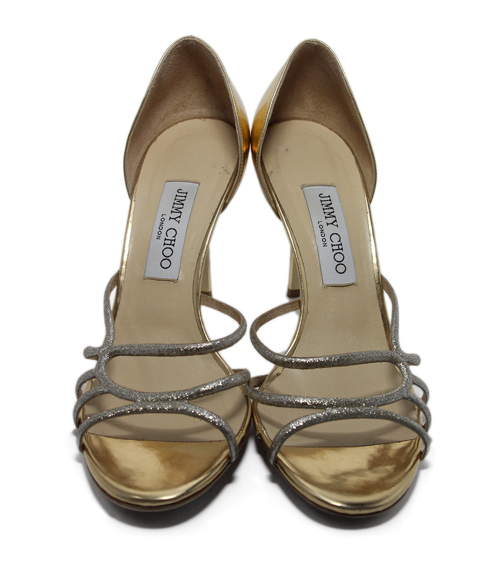 Jimmy Choo Metallic Gold Leather Heels 4