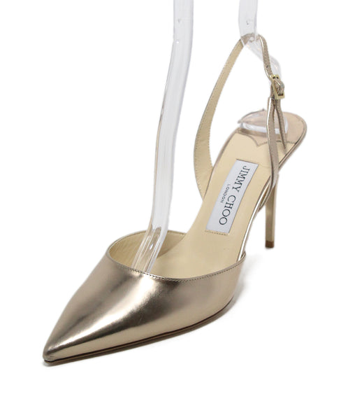 Jimmy Choo Metallic Gold Sling Backs 1