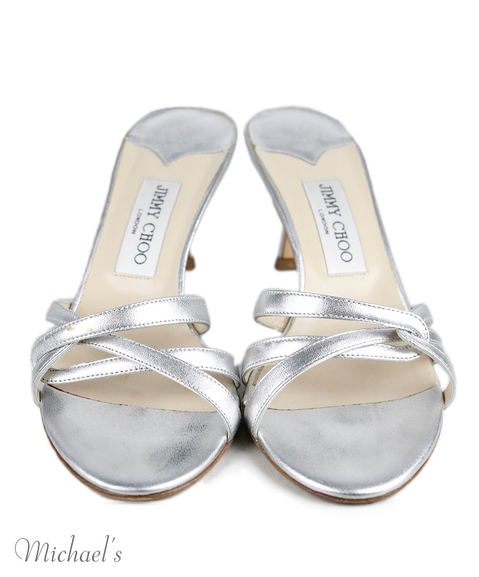 Jimmy Choo Metallic Silver Leather Shoes Sz 37.5