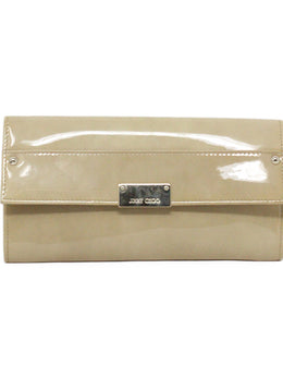 Jimmy Choo Neutral Beige Patent Leather Clutch 1
