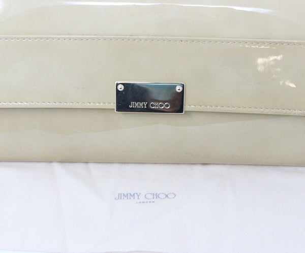 Jimmy Choo Neutral Beige Patent Leather Clutch 9
