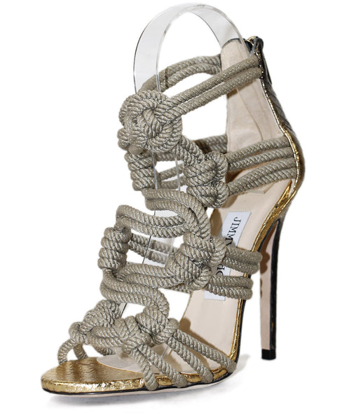 "Jimmy Choo Neutral Gold Python Rope Trim ""Kalmar"" Shoes Sz 35.5"